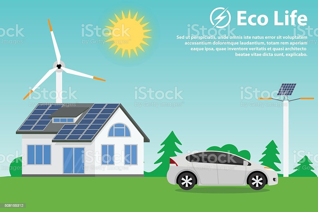 Preserving the environment and using renewable energy sources vector art illustration