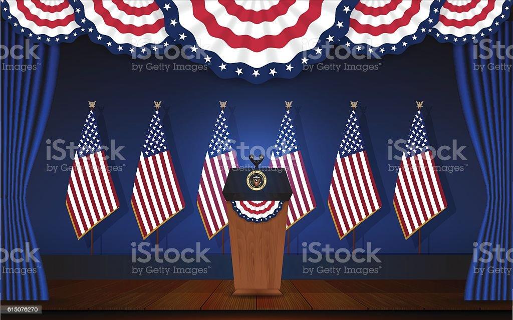 President podium on stage with flagstaff on back vector art illustration