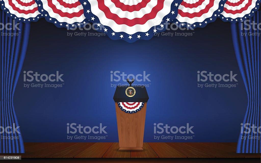 USA President podium on stage with semi-circle decorative flag vector art illustration