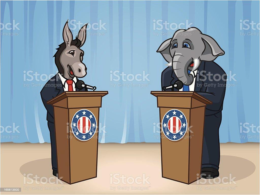 Presidential Debate vector art illustration