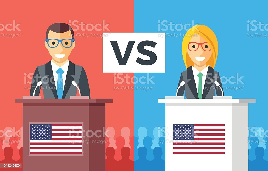 Presidential debates. Candidates at rostrums, US flags. USA presidential elections vector art illustration