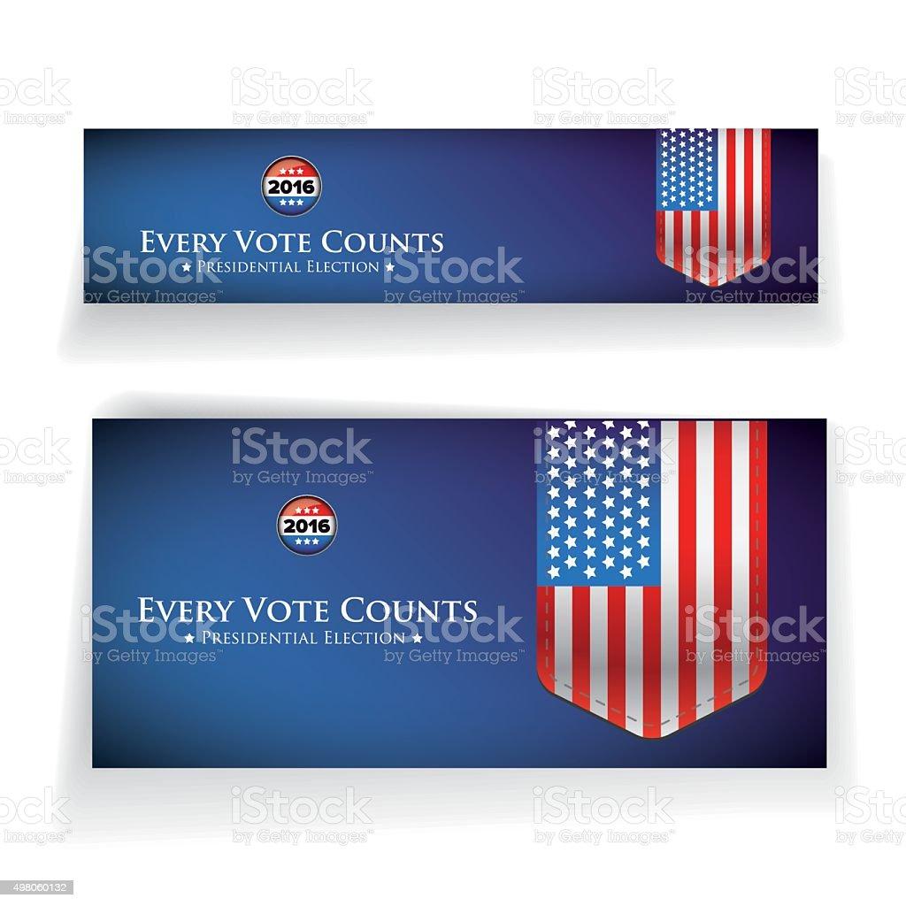 Presidential election 2016 banner or poster vector art illustration
