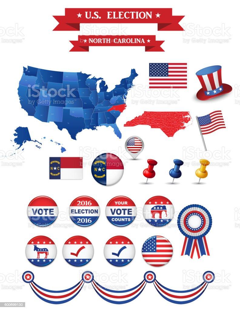 US Presidential Election 2016. North Carolina State vector art illustration