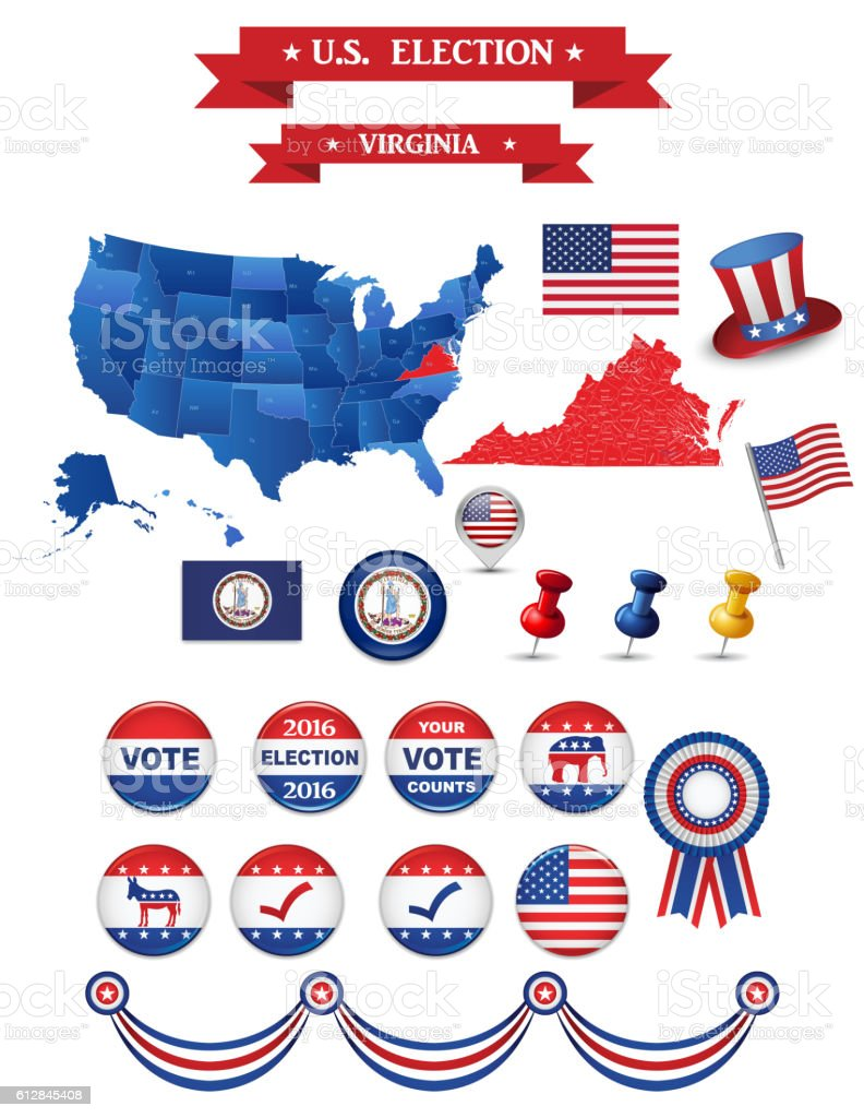 US Presidential Election 2016. Virginia State vector art illustration