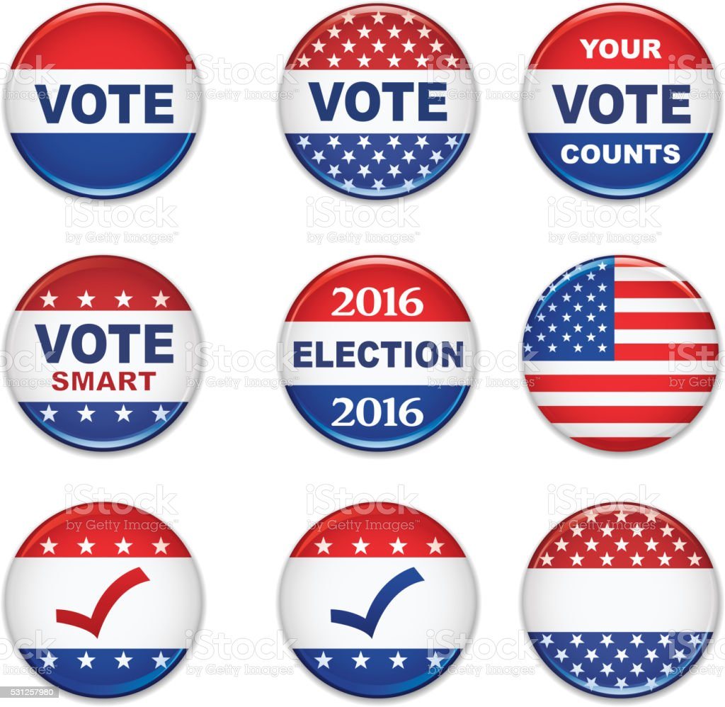 USA Presidential Election Buttons - 2016 vector art illustration