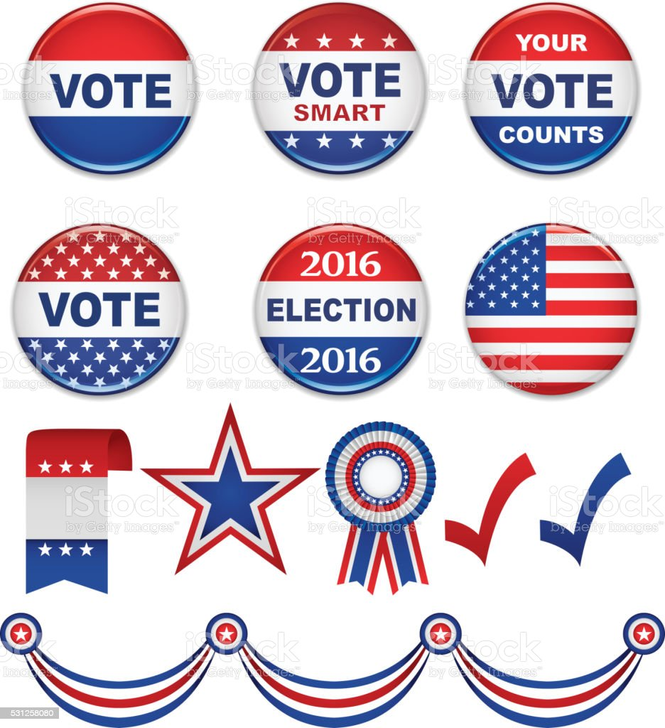 USA Presidential Election Buttons and Design Elements- 2016 vector art illustration