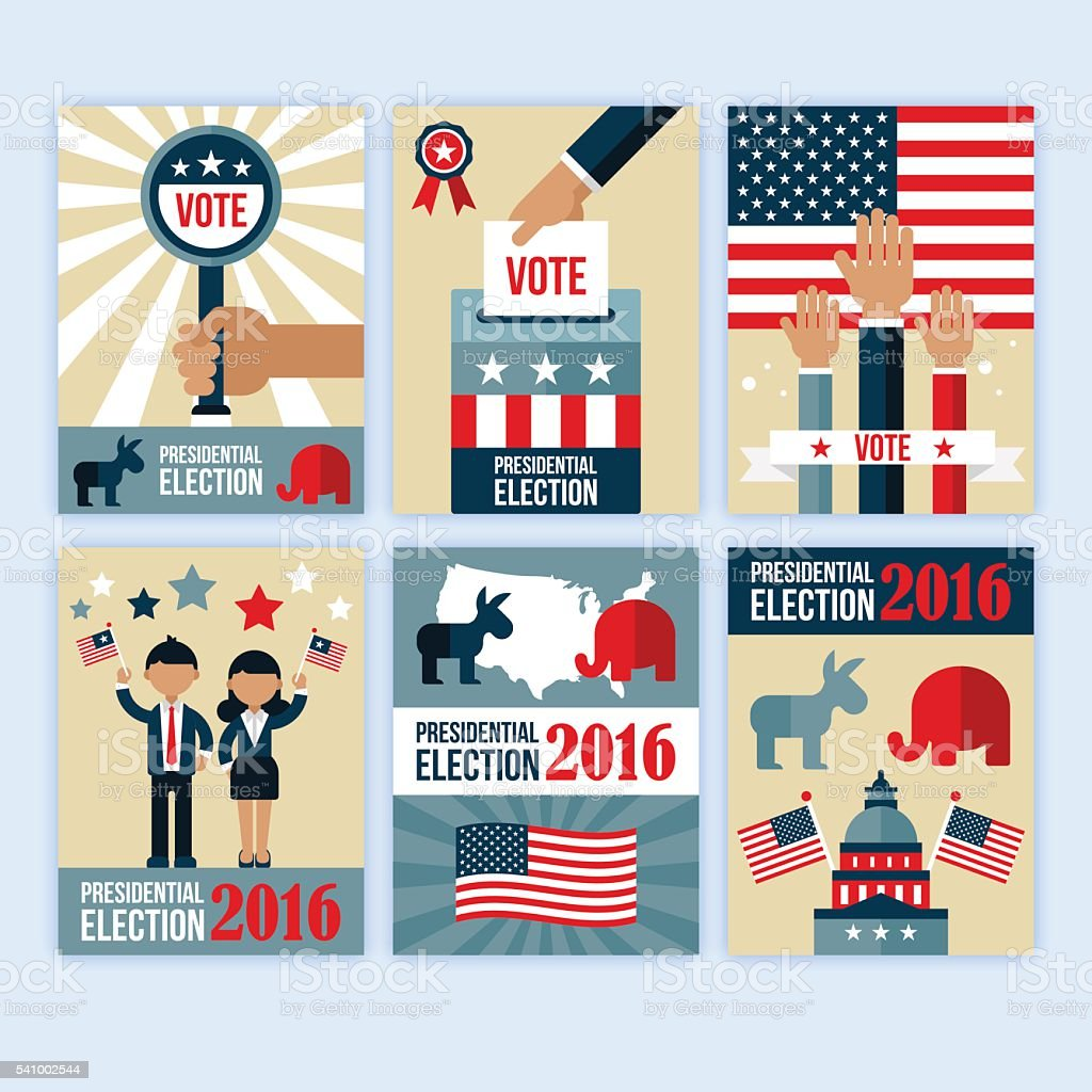 Presidential election poster desgn set. Presidential election voting vector art illustration