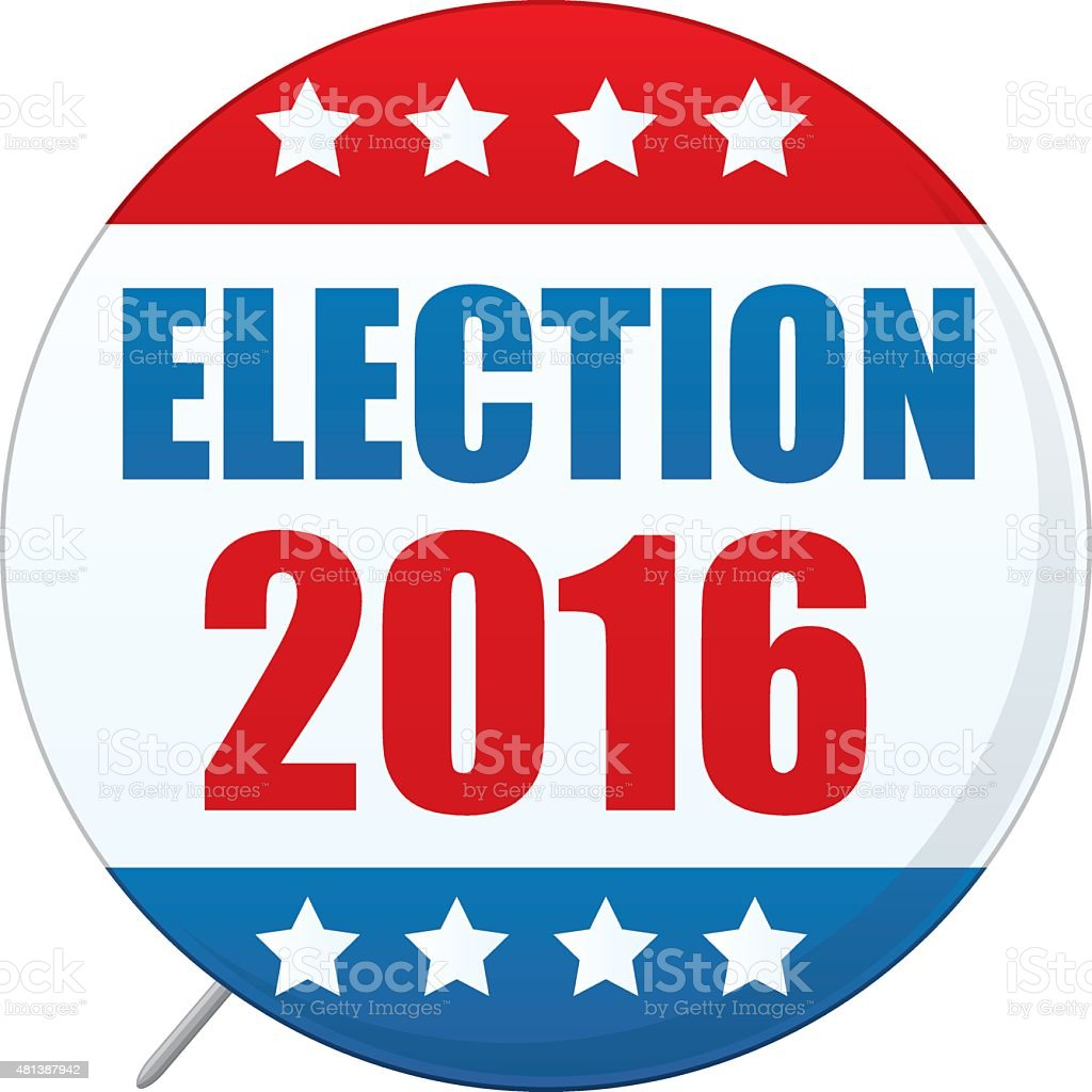 Presidential Election Voters Pin 2016 vector art illustration