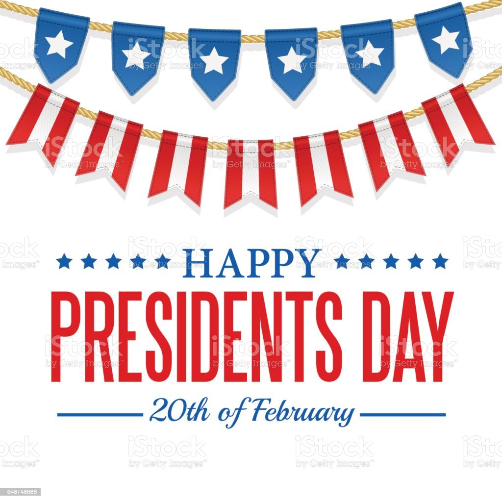 Presidents Day background. USA patriotic template. Vector colorful bunting decoration. vector art illustration