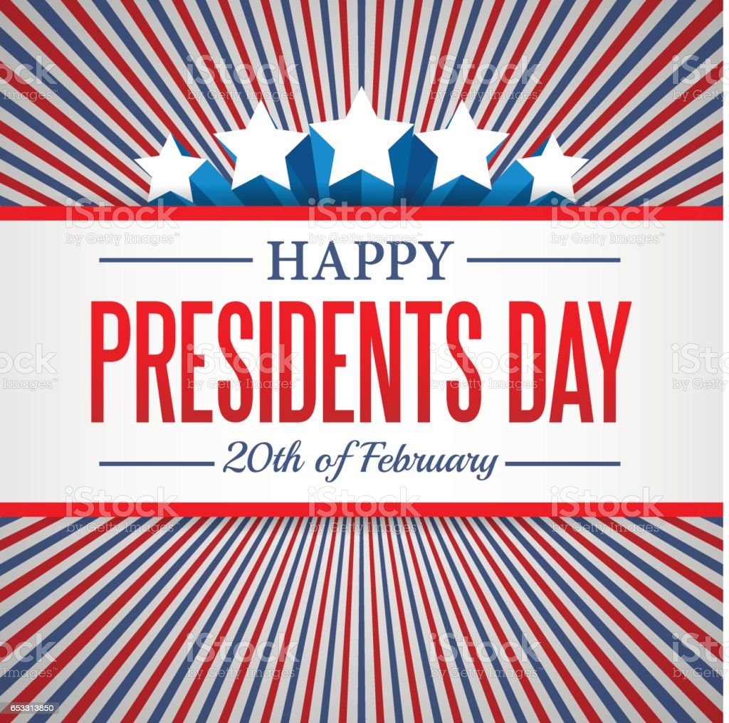 Presidents Day background. USA patriotic vector template with text, stripes and stars in colors of american flag. vector art illustration