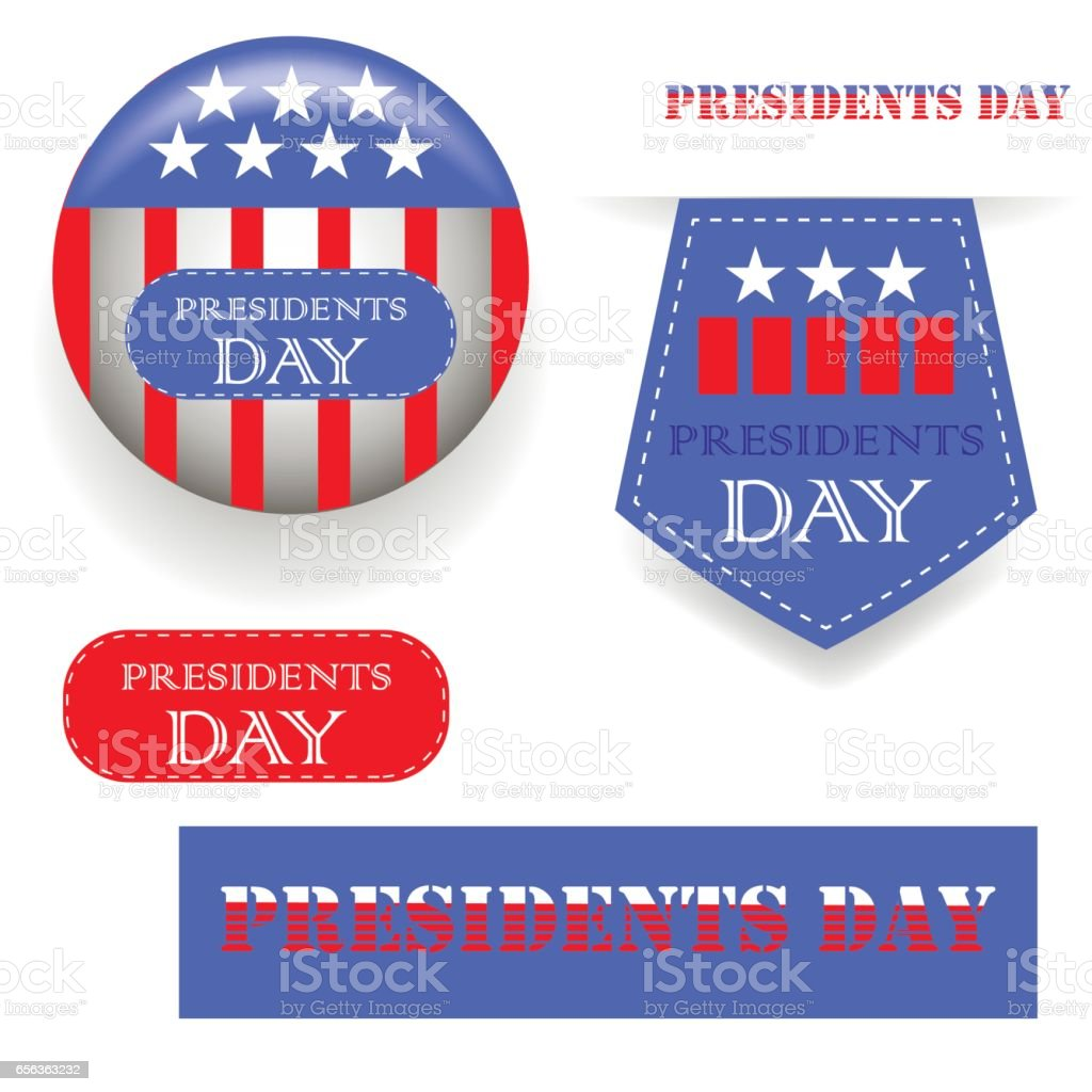 Presidents Day Icons vector art illustration