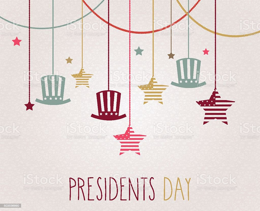 Presidents day poster. Hanging colorful hats and stars vector art illustration