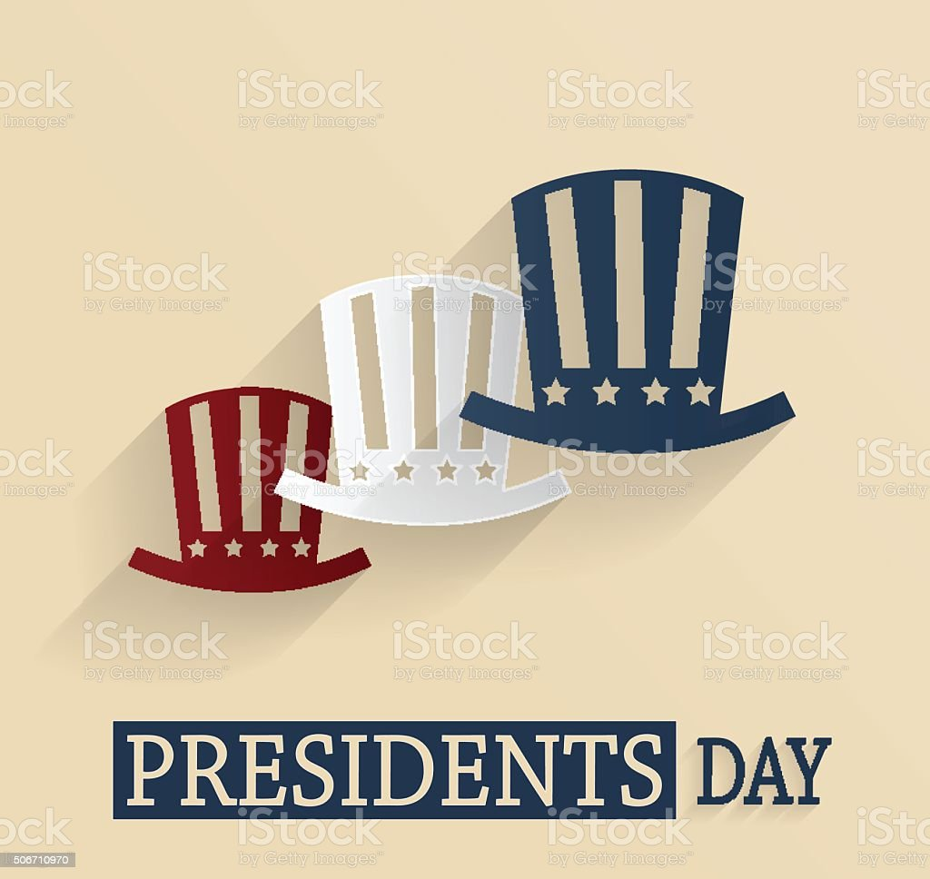 Presidents Day poster. Red, white and blue hats vector art illustration
