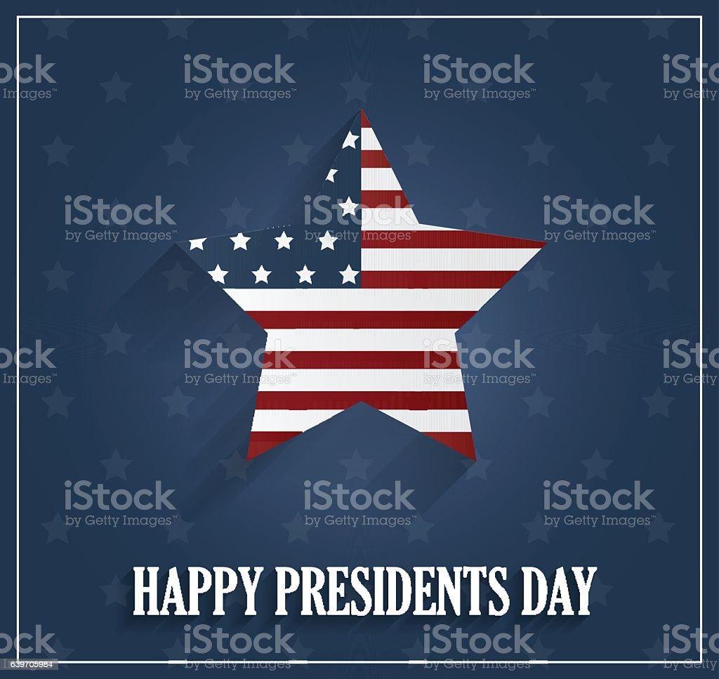 Presidents day poster with striped star on blue background vector art illustration