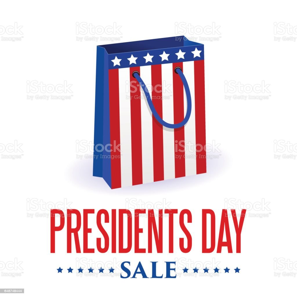 Presidents Day sale background. Shopping bag. USA flag colors. vector art illustration