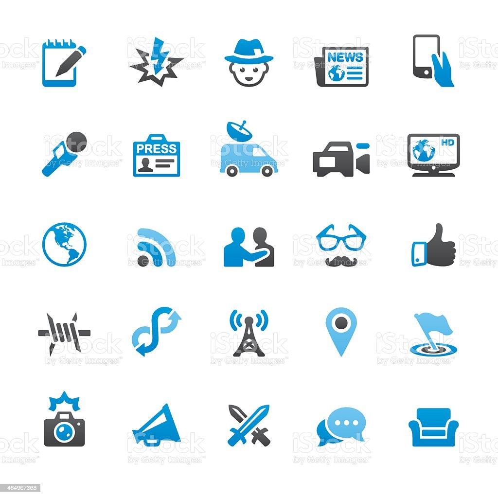Press and Media related vector icons vector art illustration