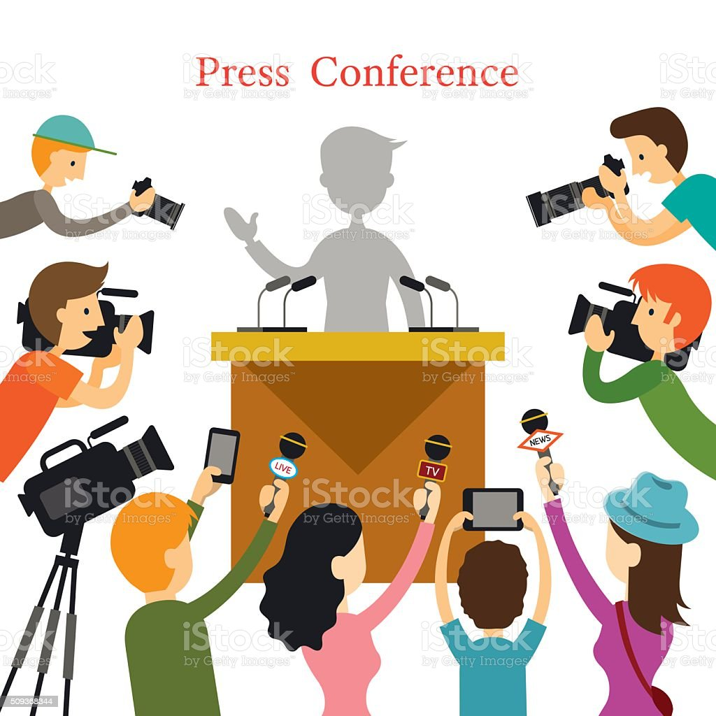 Press Conference, Journalist Interview vector art illustration
