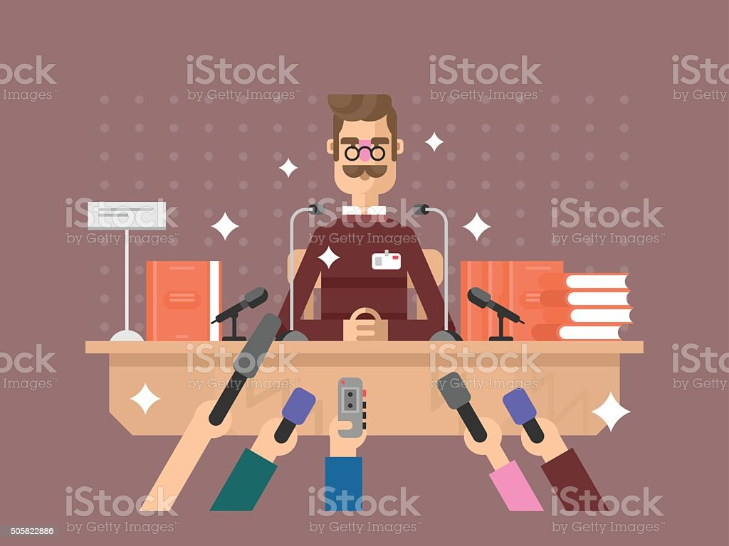 Press conference man vector art illustration