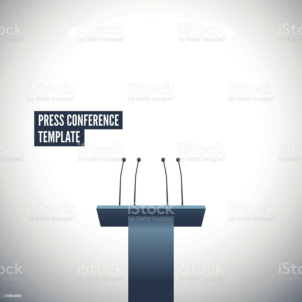Press conference with tribune vector template vector art illustration