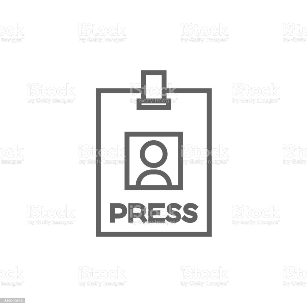 Press pass ID card line icon vector art illustration