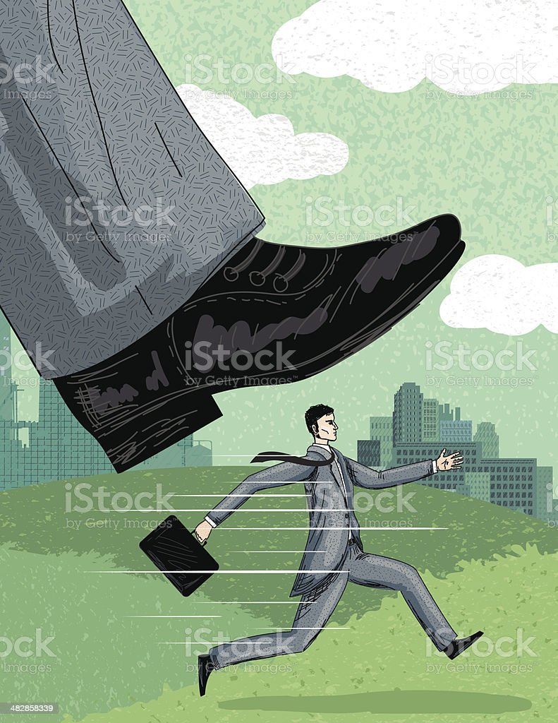 Pressure - Crushed under The Boss's Big Foot royalty-free stock vector art