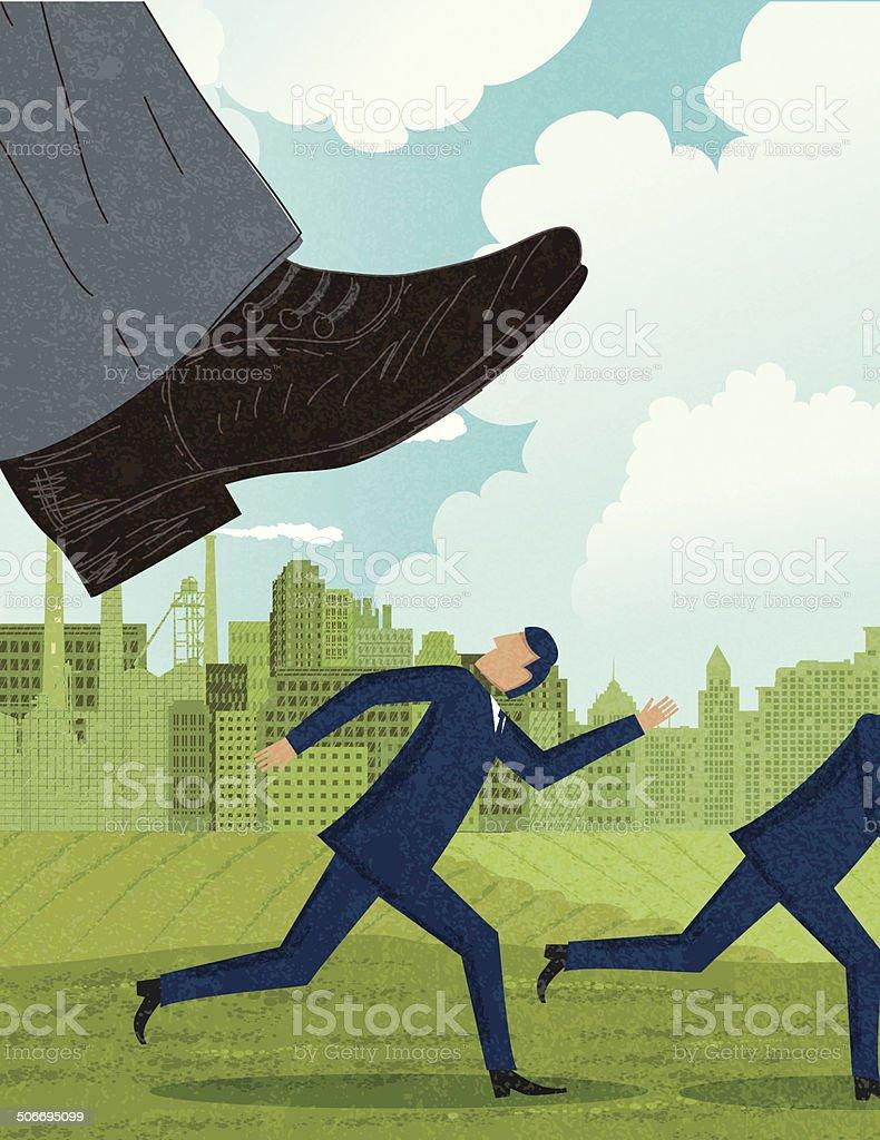 Pressure - Crushed under The Boss's Big Foot vector art illustration