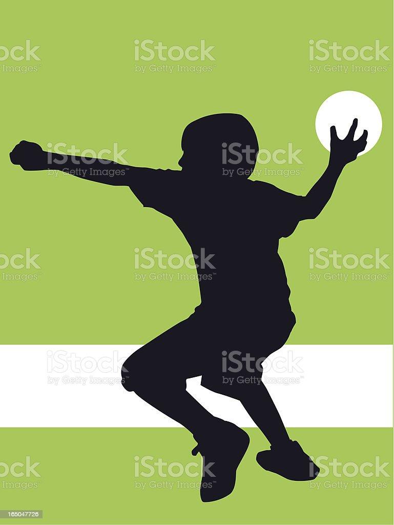 Preteen boy playing Dodge Ball vector art illustration