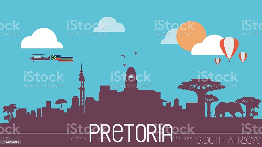 Pretoria city South Africa skyline silhouette vector art illustration