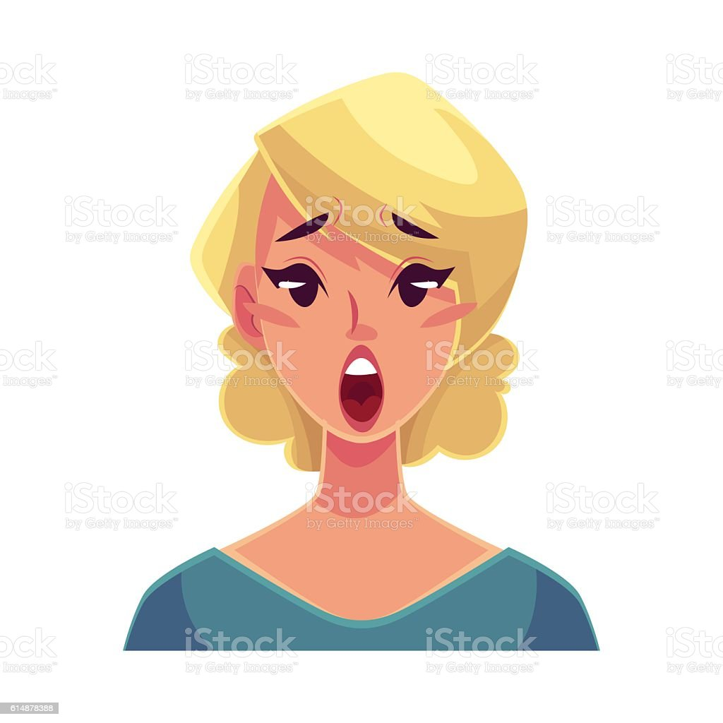 Pretty blond woman, surprised facial expression vector art illustration