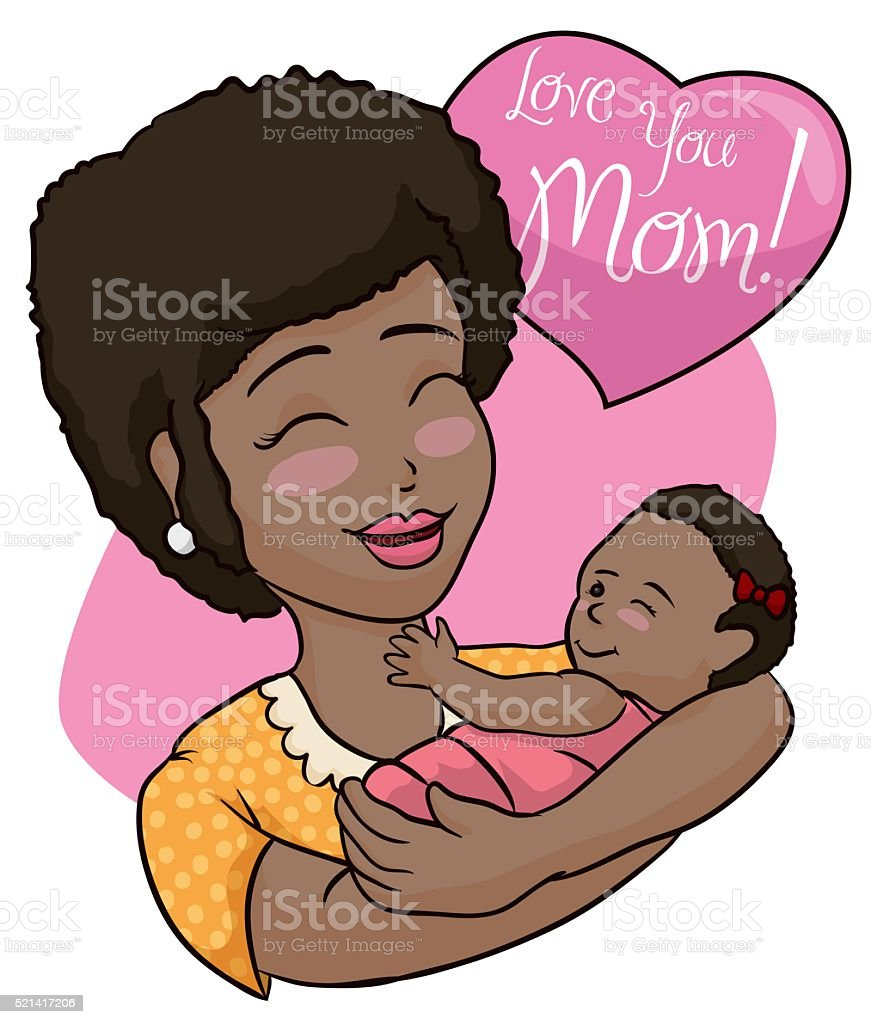 Pretty Brunette Mom and Baby Celebrating Mother's Day vector art illustration