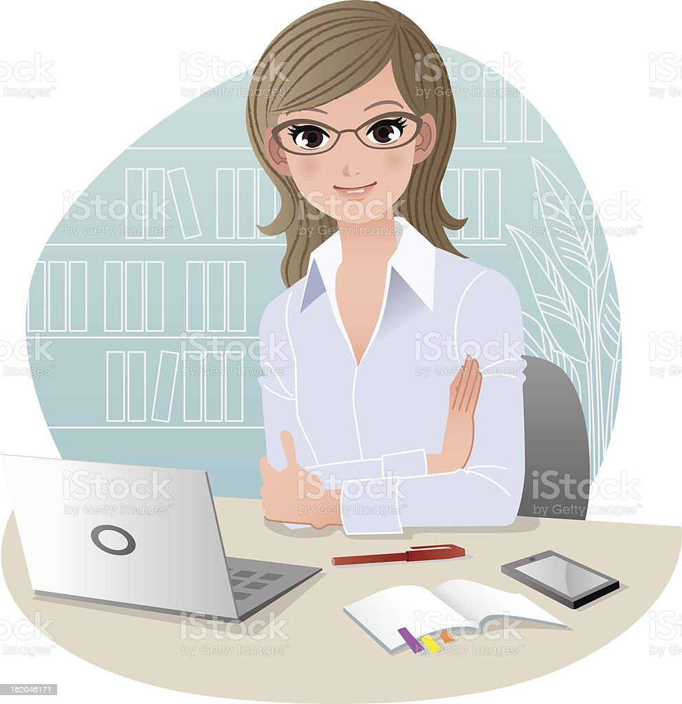 Pretty business woman at office royalty-free stock vector art
