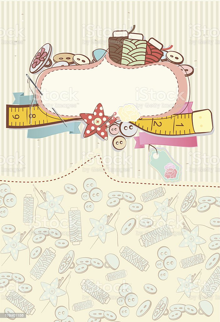 Pretty card with sewing accesories royalty-free stock vector art