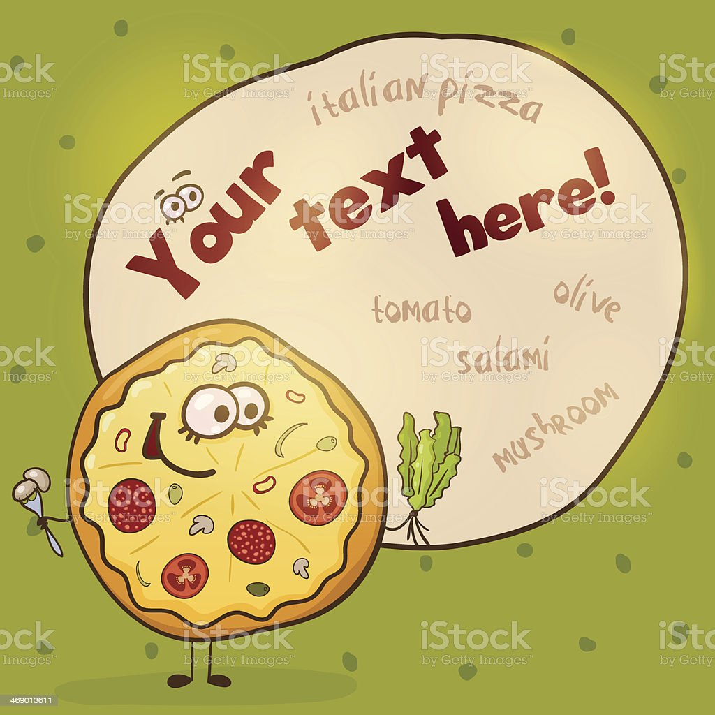Pretty cartoon pizza royalty-free stock vector art