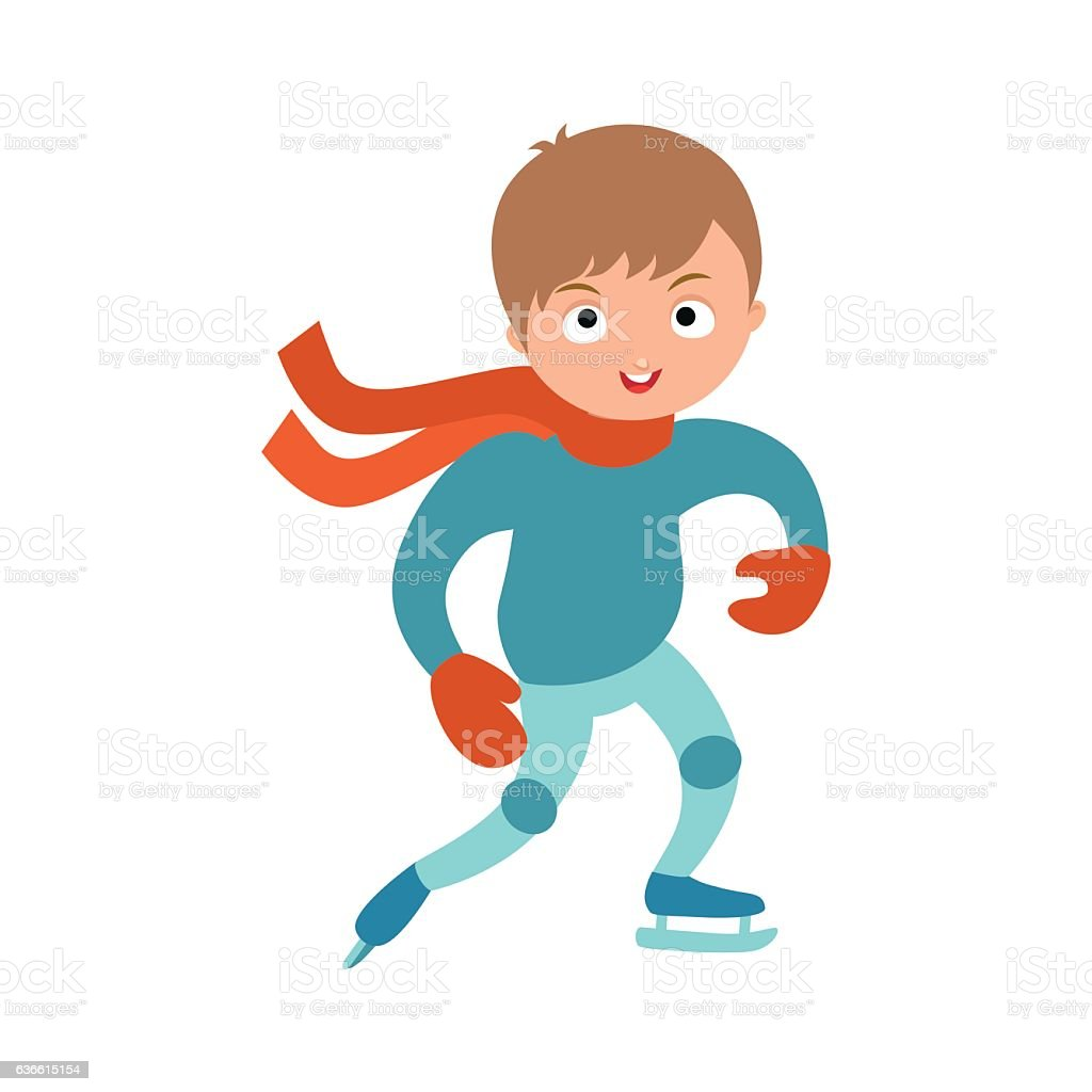 Pretty cheerful little boy thermal suits skating outdoors vector. vector art illustration