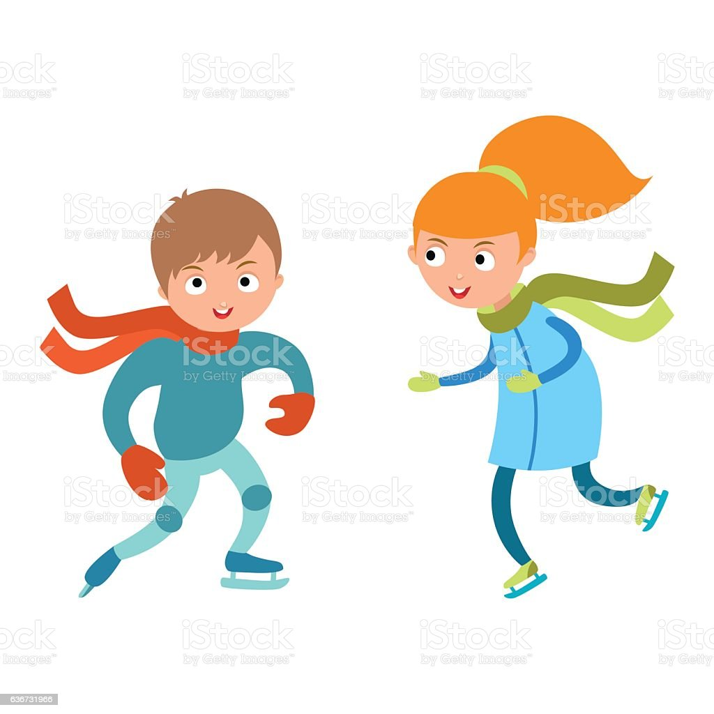 Pretty cheerful little girl and boy thermal suits skating outdoors vector art illustration