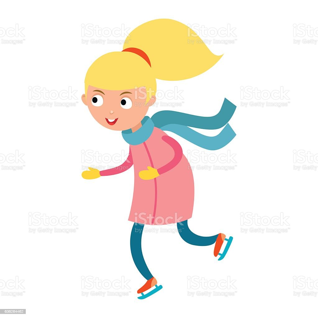 Pretty cheerful little girl thermal suits skating outdoors vector. vector art illustration
