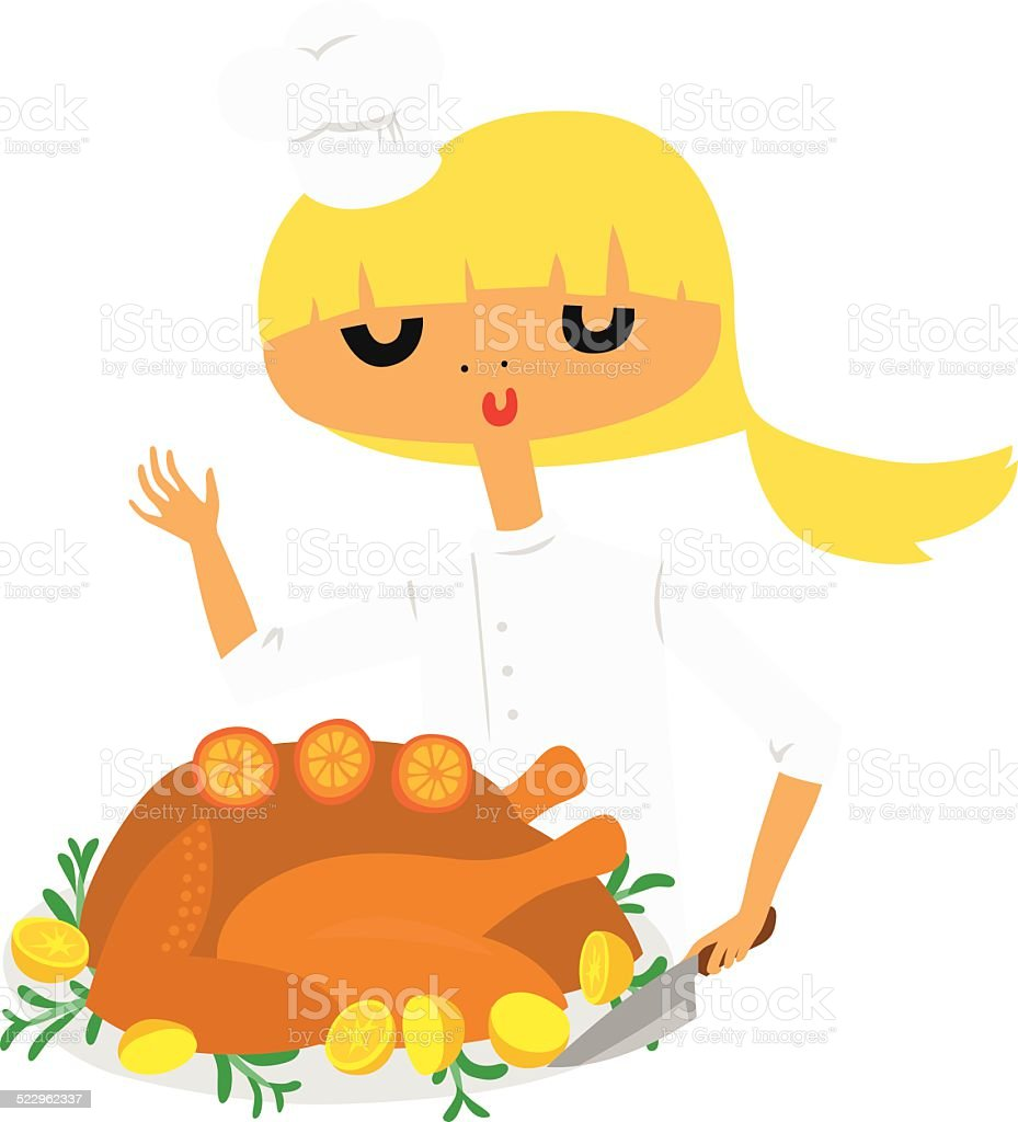 Pretty Chef Cooking Roasted Turkey vector art illustration