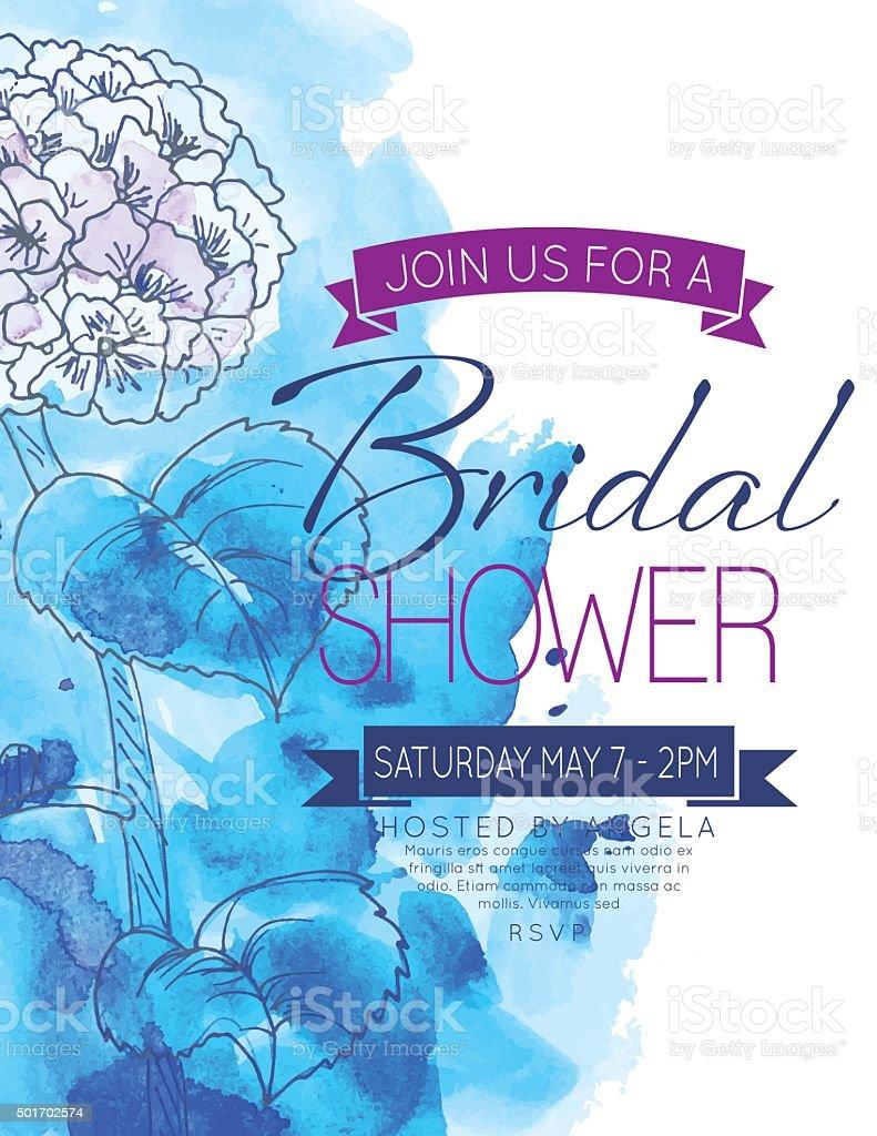 Pretty feminine Hydrangea Bridal Shower Party Invitation Template vector art illustration