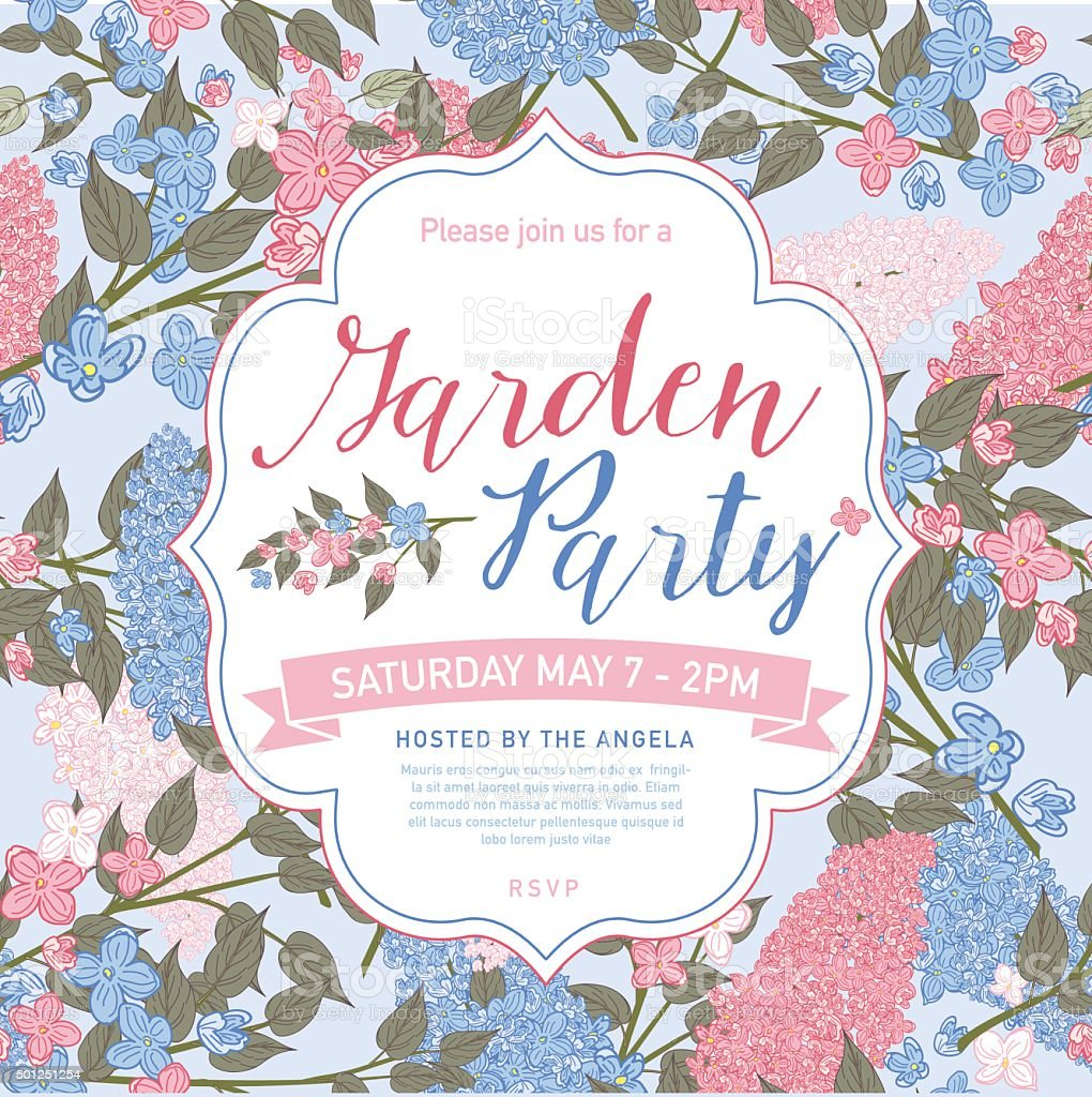 Pretty feminine Pink and Blue Garden Party Invitation Template vector art illustration