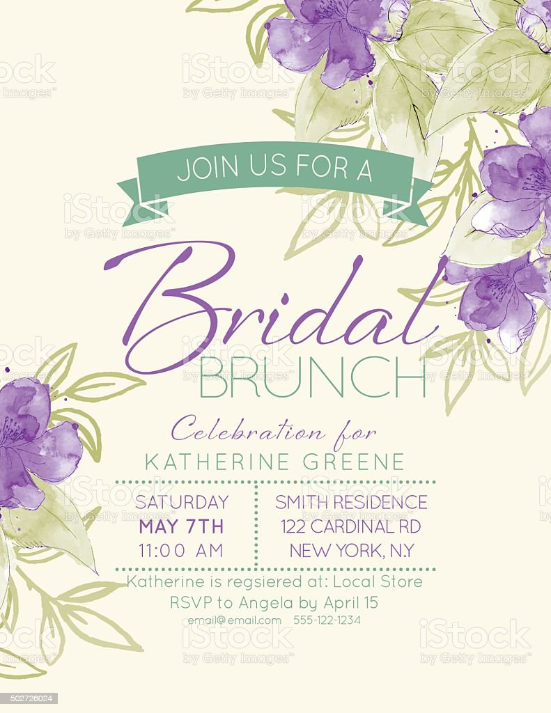 Pretty feminine Watercolor Flowers Bridal Shower Invitation Template vector art illustration