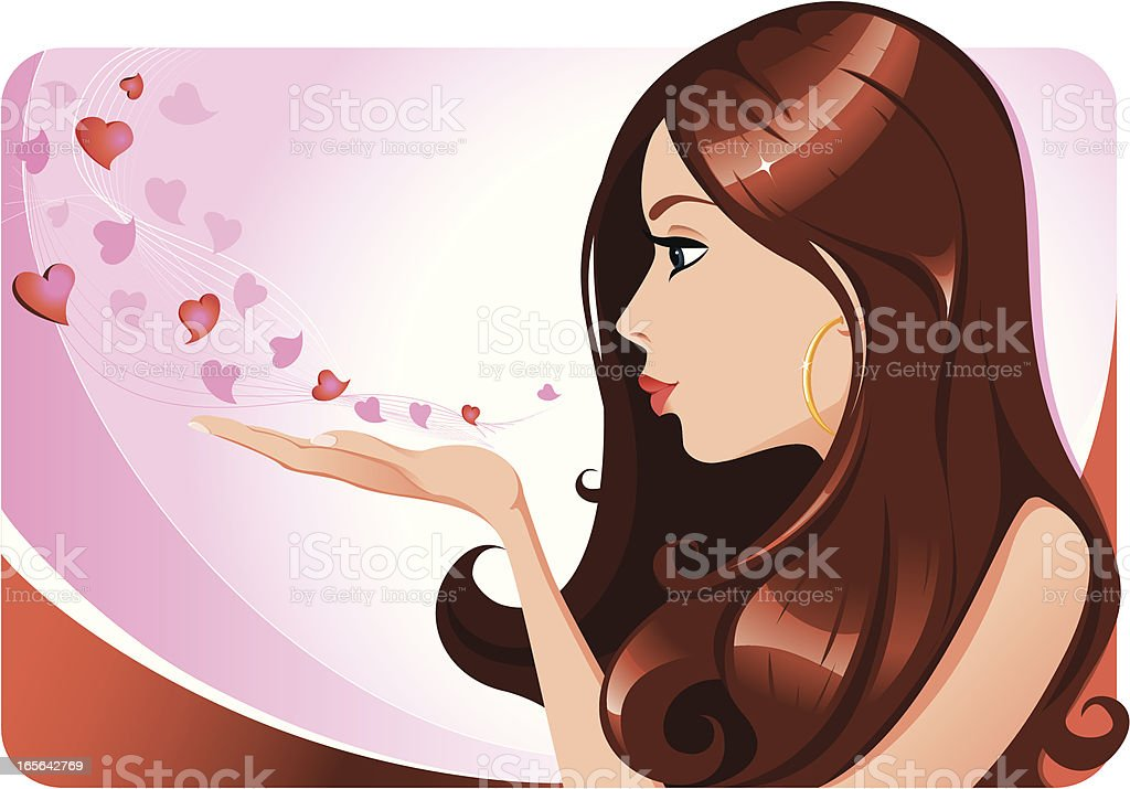 Pretty girl blowing kisses vector art illustration