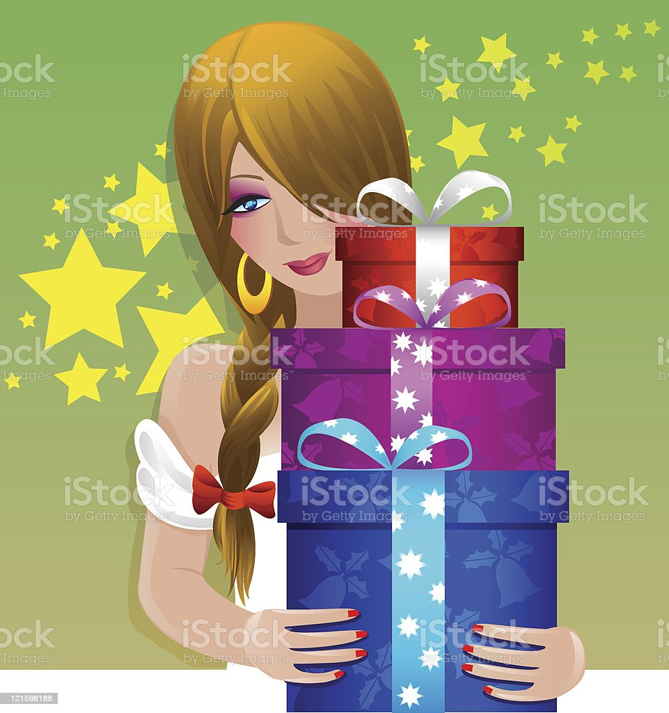 pretty girl holding gifts royalty-free stock vector art