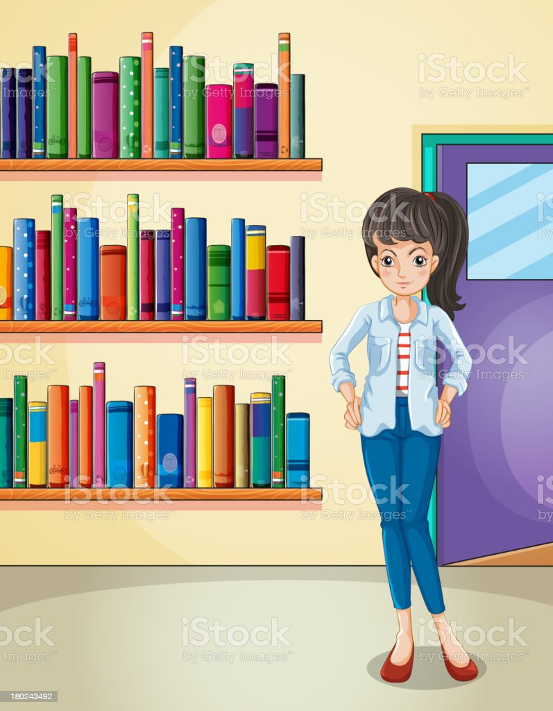 pretty girl in the library royalty-free stock vector art