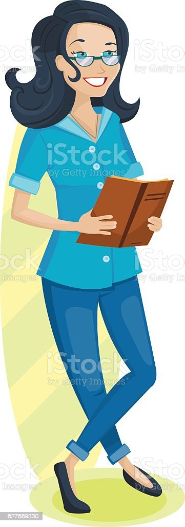 Pretty girl is reading the book or magazine vector art illustration
