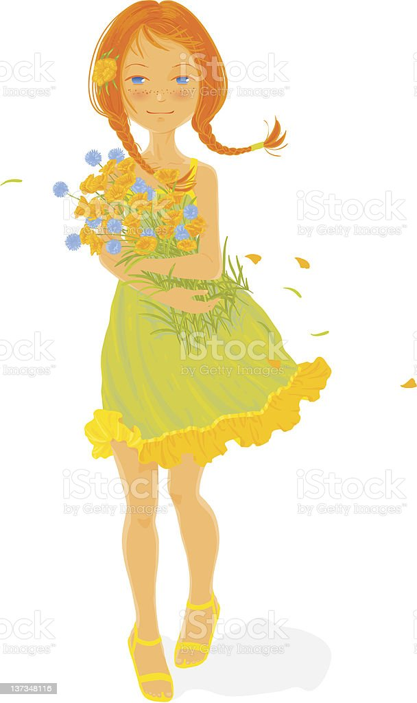 Pretty girl with a bouquet of wild flowers royalty-free stock vector art