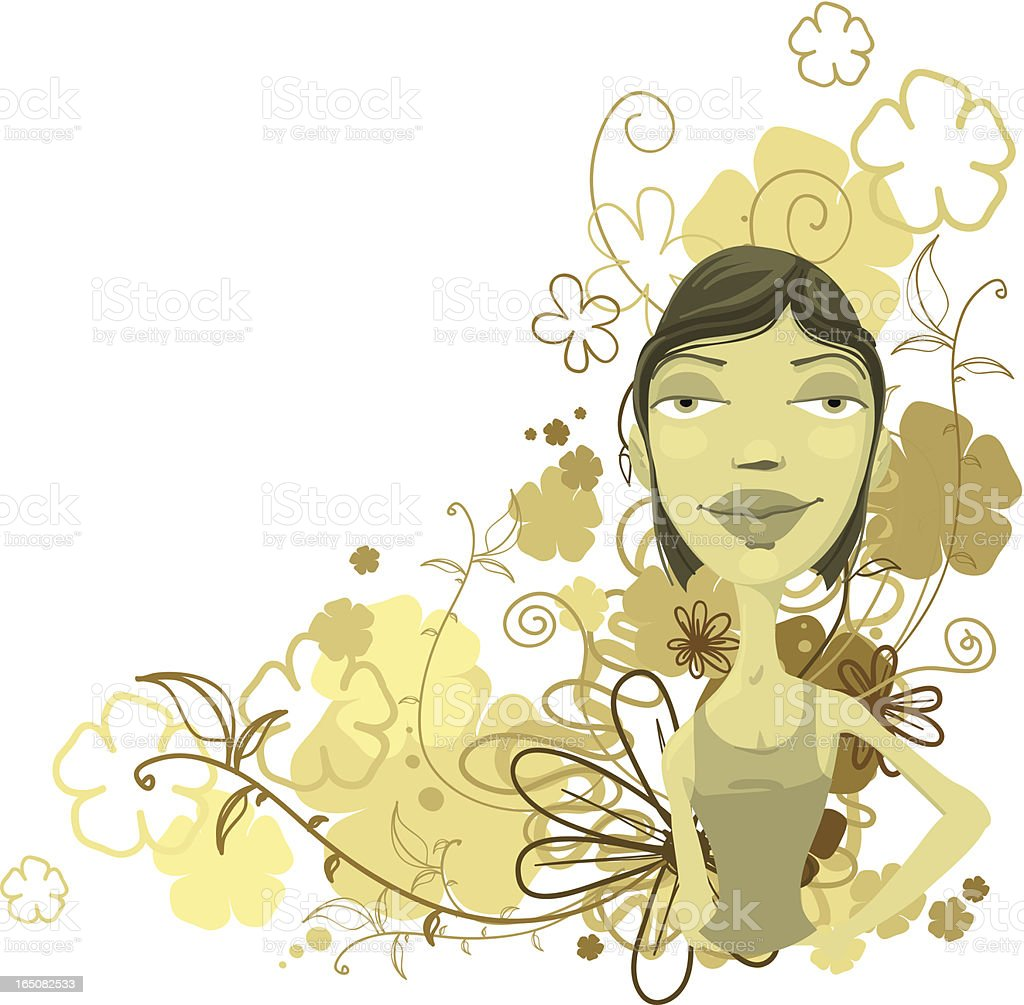 Pretty girl with flowers royalty-free stock vector art