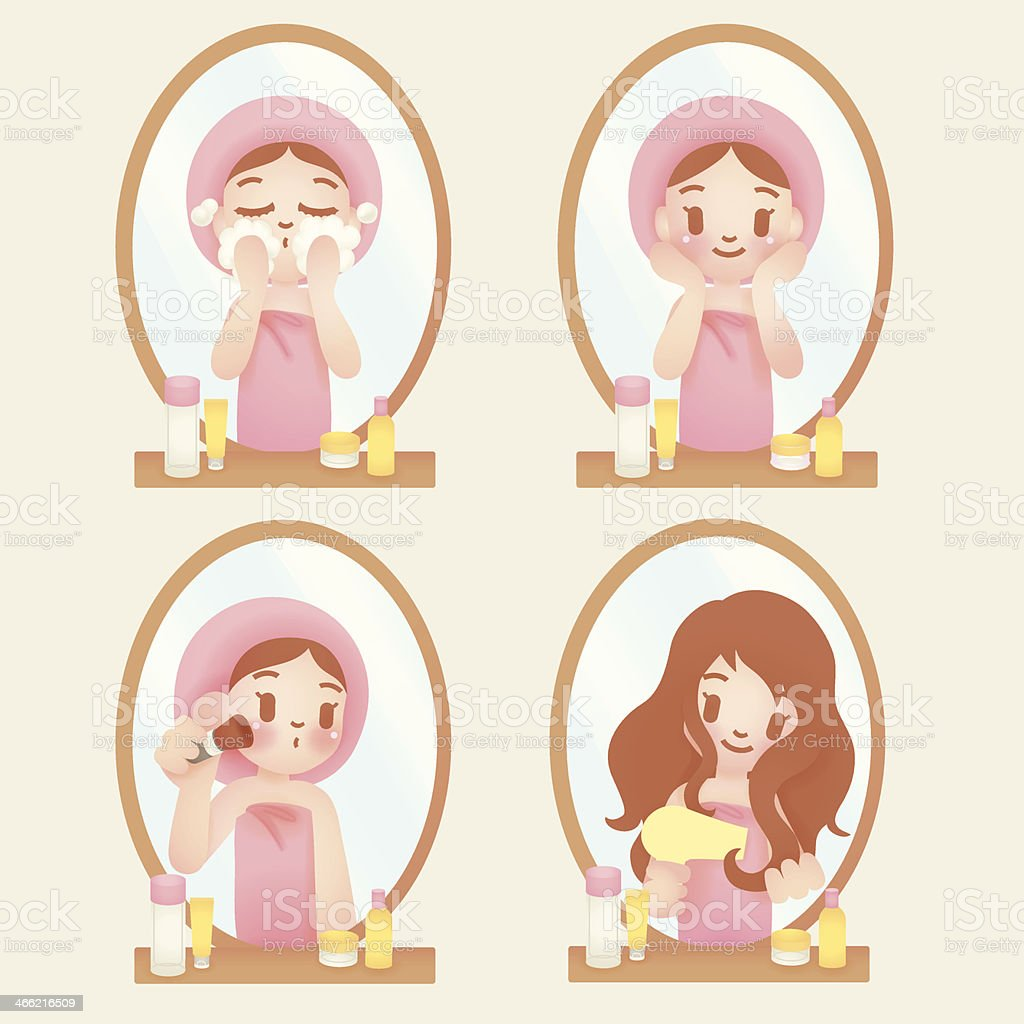 Pretty girl with skincare and make up - Vector EPS10 royalty-free stock vector art