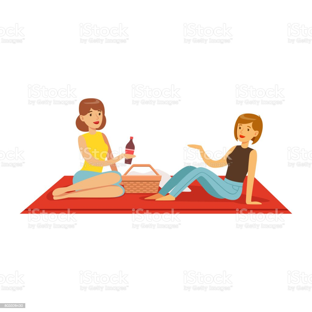 Pretty girls having picnic, two women characters sitting on a picnic plaid vector Illustration vector art illustration