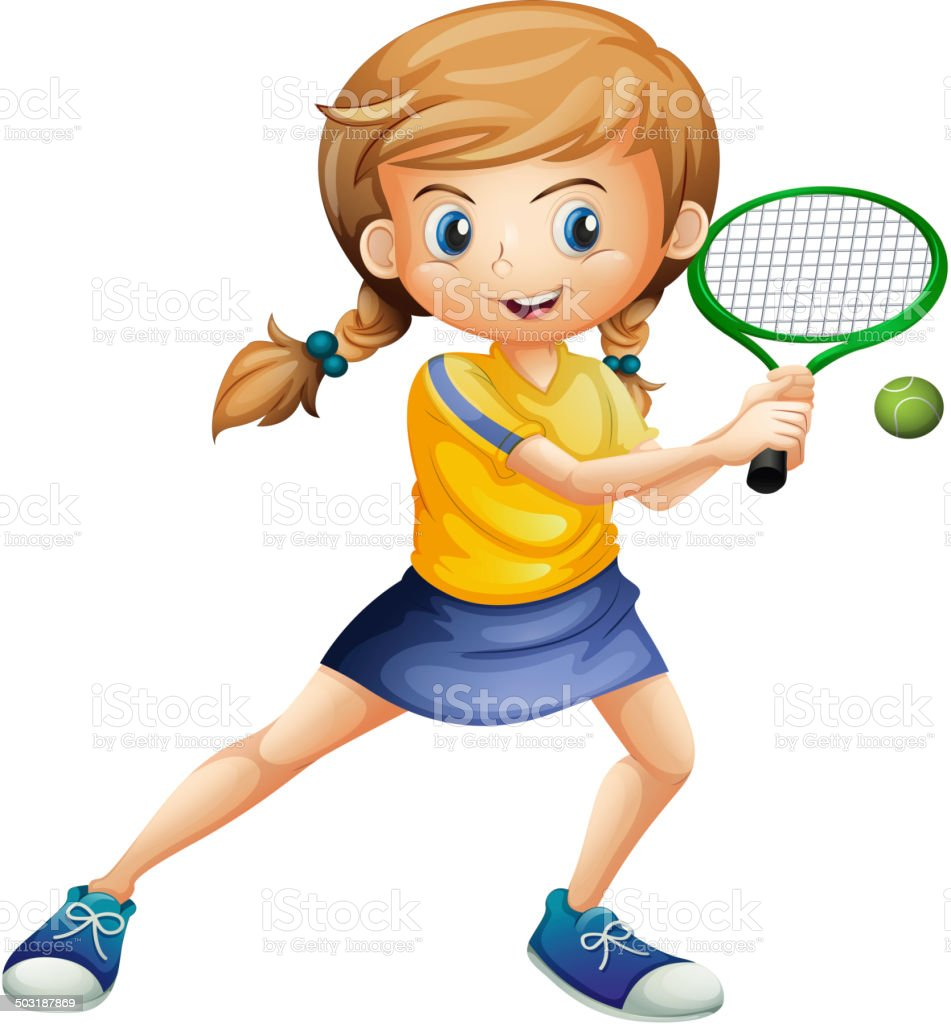 Pretty lady playing tennis vector art illustration
