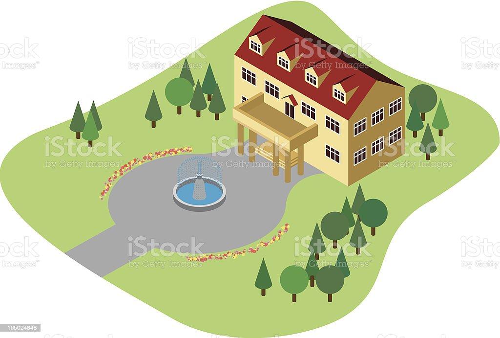 Pretty Mansion royalty-free stock vector art